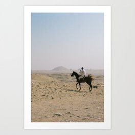 Egyptian on Horse in Egypt Desert Art Print