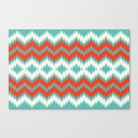 ikat Canvas Prints featuring Ikat by Deepti Munshaw