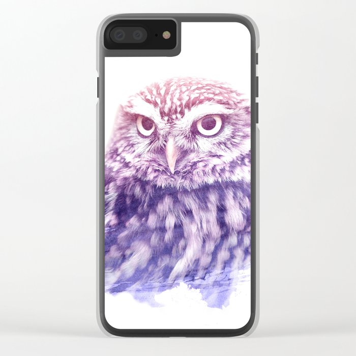 OWL SUPERIMPOSED WATERCOLOR Clear iPhone Case