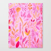 flora Canvas Prints featuring Flora by messy bed studio