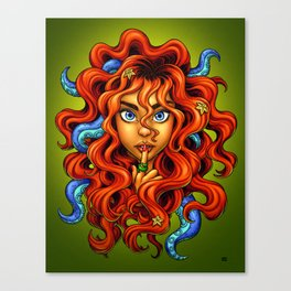 Tentacle Hair Lady- red Canvas Print