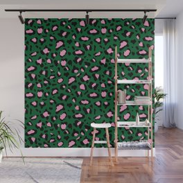 Leopard Print - green and pink Wall Mural
