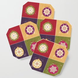 Christmas Retro Ornaments Coaster