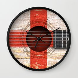 Old Vintage Acoustic Guitar with English Flag Wall Clock