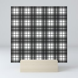 Slate Gray Modern Gingham Plaid Print Mini Art Print