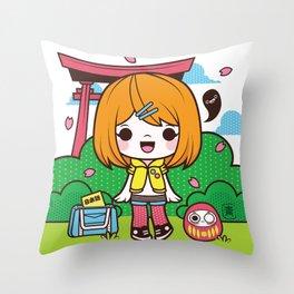 Torii Girl Throw Pillow