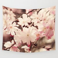 cherry blossom Wall Tapestries featuring Cherry Blossom by Erin Johnson