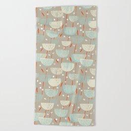 Botanical Block Print M+M Latte by Friztin Beach Towel