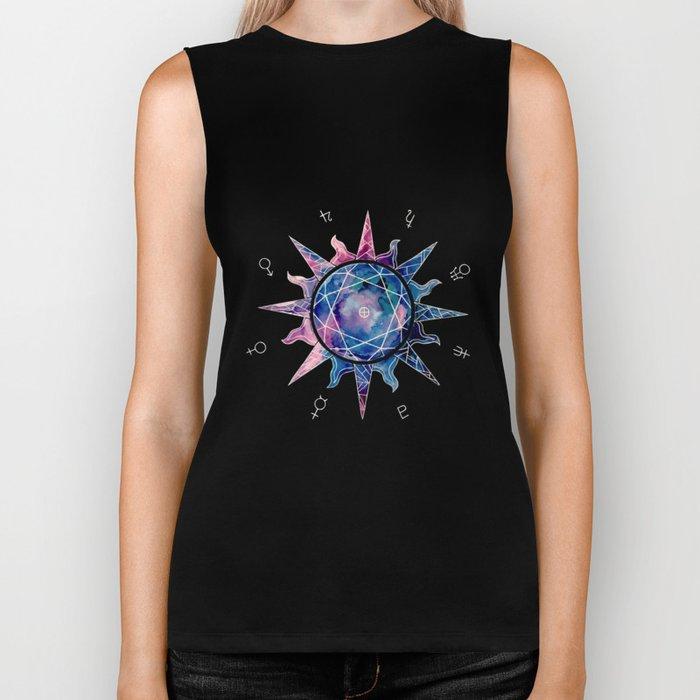 Crystal Sun | Planet Symbol | Watercolor Biker Tank