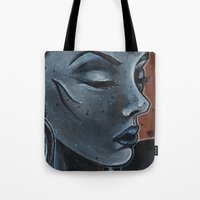 "indigo Tote Bags featuring Indigo by Barbora ""Mad Alice"" Urbankova"