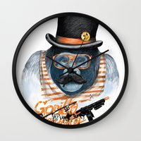 gangster Wall Clocks featuring Gangster by dogooder
