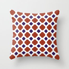 QUATREFOIL, RED AND BLUE Throw Pillow