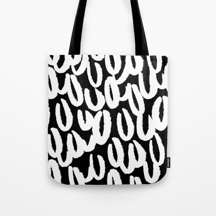 Brushy White And Black Classy College Student Collection Tote Bag By Allyjcat