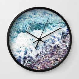 Waves lap at the shore - painting - art gift - abstract Wall Clock