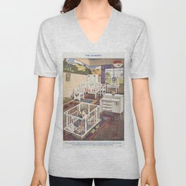 The Nursery from Mrs Beetons Book of Household Management Unisex V-Neck