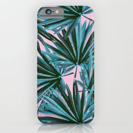 Tropical Palm Leaves in Botanical Green + Pink iPhone Case