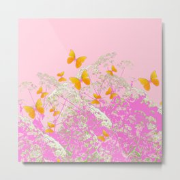 GOLDEN BUTTERFLIES IN PINK LACE GARDEN Metal Print