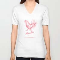 cock V-neck T-shirts featuring Cock Flip by Sarah Kamada
