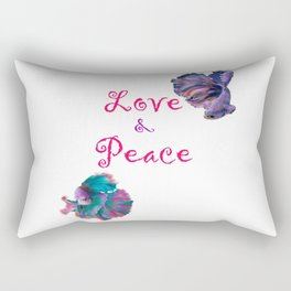 Love and Peace Fighter Fish Rectangular Pillow