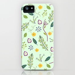 Floral Greenery Pattern I iPhone Case