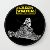 mario kart Wall Clocks featuring Kart Vader by sEndro