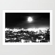 Boston and the Super Moon Art Print