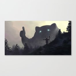 yo bro is it safe down there in the woods? yeah man it's cool Canvas Print