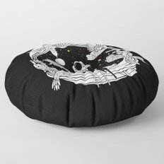 Depth of Discovery (A Case of Constant Curiosity-B/W) Floor Pillow