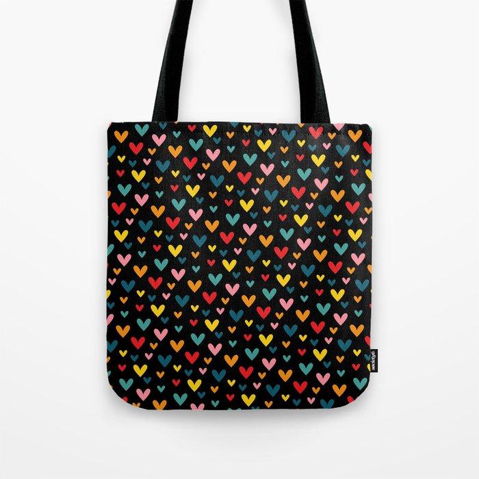 Happy Hearts on Black Tote Bag