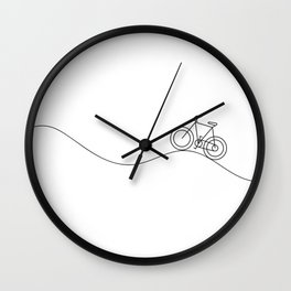 Bike on rolling hills Wall Clock