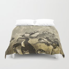 Naturalist Penguin And Puffin Duvet Cover