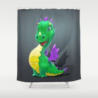 smaug Shower Curtains featuring The Childhood of Smaug ;) by pakowacz