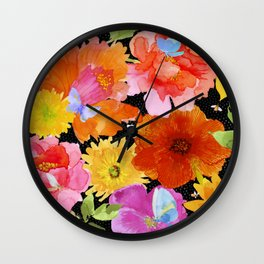 Watercolor Flowers on Black Wall Clock
