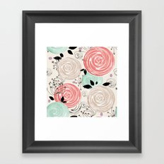 Retro . Abstract floral pattern. f Framed Art Print
