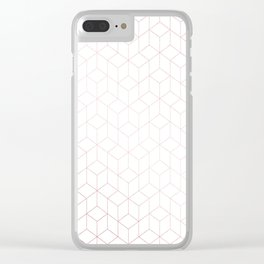 Simply Cubic in Rose Gold Sunset Clear iPhone Case