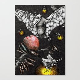 The Time of Night Strange Bats and Over sized Fireflies Come Out Canvas Print