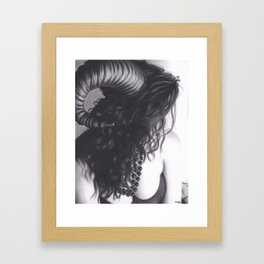 Realism Drawing of Sexy Horned Beast Framed Art Print