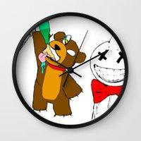 wasted rita Wall Clocks featuring WASTED by Indigo Blak