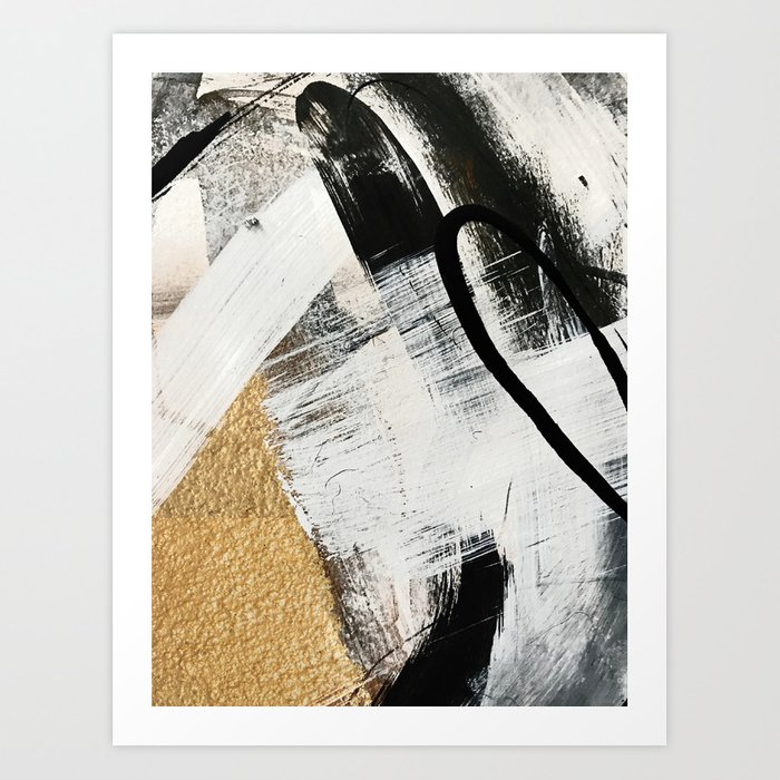 Armor [9]: a minimal abstract piece in black white and gold by Alyssa Hamilton Art Art Print