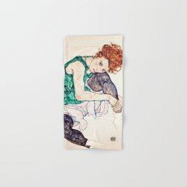 Egon Schiele - Seated Woman with Bent Knee Hand & Bath Towel