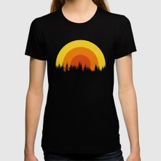 summer mountain Black MEDIUM Womens Fitted Tee