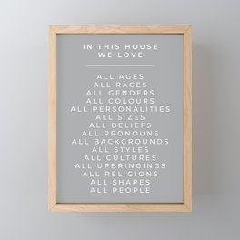 In This House Diversity Acceptance Print - British English - Cobble Grey Framed Mini Art Print