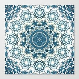 Creamy and blue mandala pattern Canvas Print