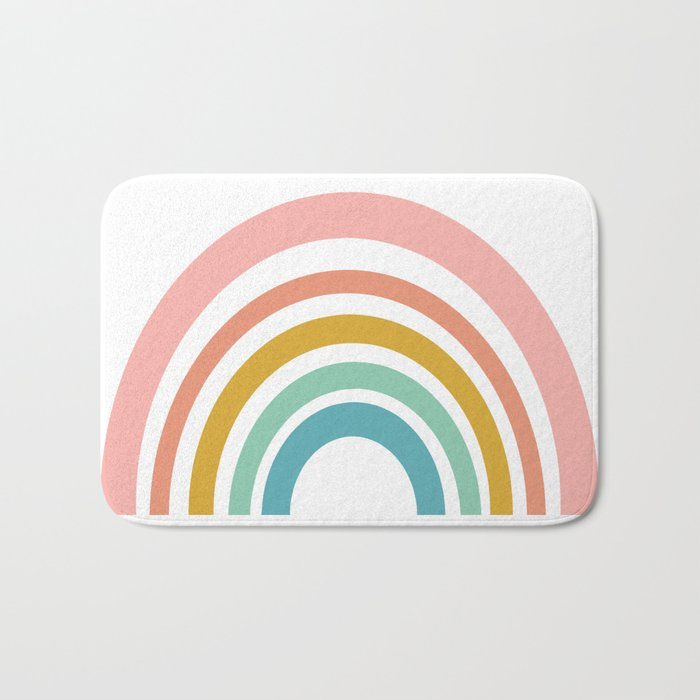 Simple Happy Rainbow Art Bath Mat