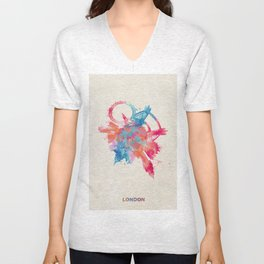 London, United Kingdom Colorful Skyround / Skyline Watercolor Painting Unisex V-Neck