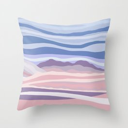 Bohemian Waves // Abstract Baby Blue Pinkish Blush Plum Purple Contemporary Light Mood Landscape  Throw Pillow