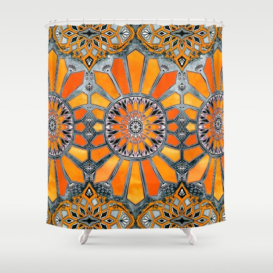 Marvelous Grey And Orange Shower Curtain Ideas - Best Image Engine ...
