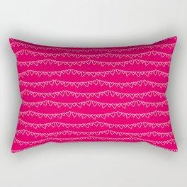 Red & White Heart Garland Rectangular Pillow