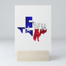 Texas Typographic Flag Map Art Mini Art Print