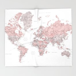 Dusty pink and grey detailed watercolor world map Throw Blanket